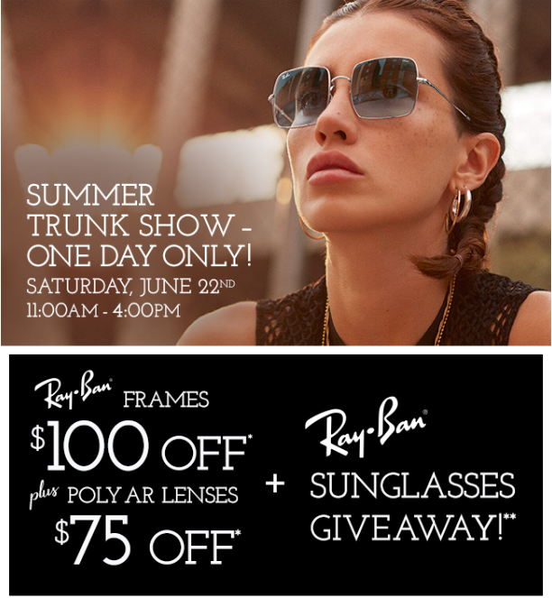 Redwood City Trunk Show Ray-Ban June22