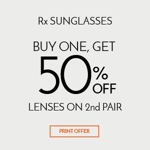 Buy One, Get 50% Off Lenses on 2nd Pair of Rx Sunglasses