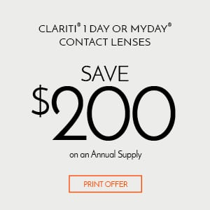 Site for Sore Eyes Save $200 OFF Clariti 1 Day or MyDay Contact Lenses Annual Supply